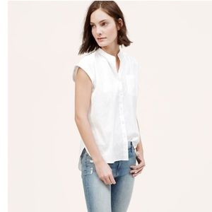 LOFT Pleat Back Button Down